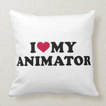 Beach Themed I love my animator throw pillow