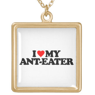 I LOVE MY ANT-EATER SQUARE PENDANT NECKLACE