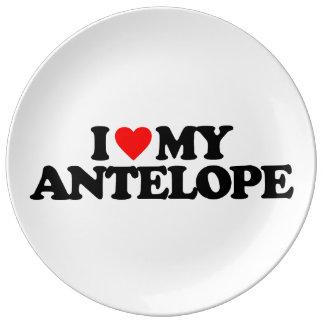 I LOVE MY ANTELOPE PORCELAIN PLATE