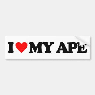 I LOVE MY APE CAR BUMPER STICKER