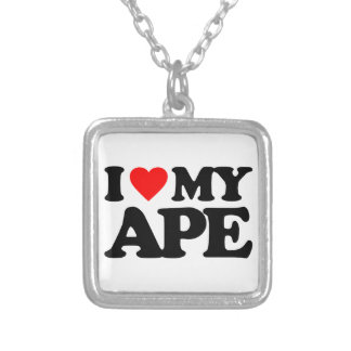 I LOVE MY APE SILVER PLATED NECKLACE