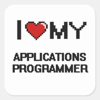 I love my Applications Programmer Square Sticker