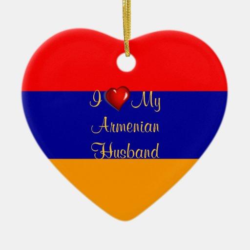 I Love My Armenian Husband Double-Sided Heart Ceramic Christmas Ornament