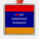 I Love My Armenian Husband Square Metal Christmas Ornament