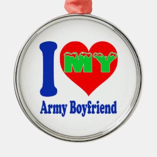 I love my Army Boyfriend Round Metal Christmas Ornament