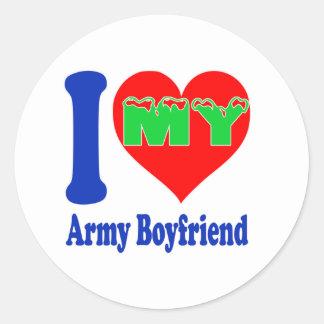 I love my Army Boyfriend Classic Round Sticker