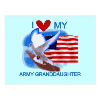 I Love My Army Granddaughter Tshirts and Gifts Postcard