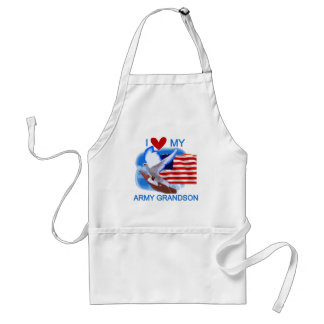 I Love My Army Grandson Tshirts and Gifts Adult Apron