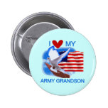 I Love My Army Grandson Tshirts and Gifts Button