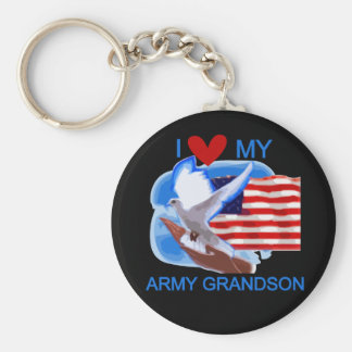 I Love My Army Grandson Tshirts and Gifts Key Chains