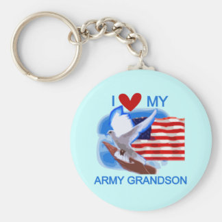 I Love My Army Grandson Tshirts and Gifts Keychain
