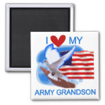 I Love My Army Grandson Tshirts and Gifts 2 Inch Square Magnet