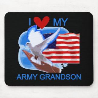 I Love My Army Grandson Tshirts and Gifts Mouse Pad