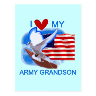 I Love My Army Grandson Tshirts and Gifts Postcard