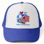 I Love My Army Grandson Tshirts and Gifts Trucker Hat