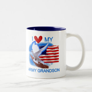 I Love My Army Grandson Tshirts and Gifts Two-Tone Coffee Mug