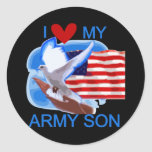 I Love My Army Son Tshirts and Gifts Classic Round Sticker