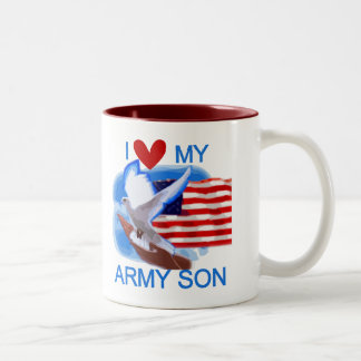 I Love My Army Son Tshirts and Gifts Two-Tone Coffee Mug