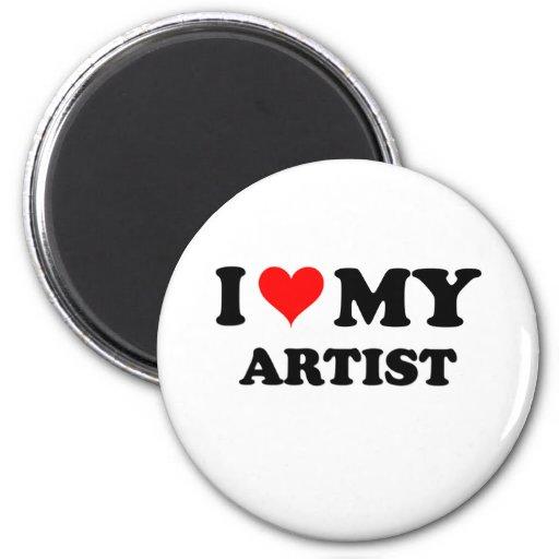 I Love My Artist 2 Inch Round Magnet