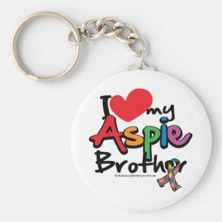I Love My Aspie Brother Basic Round Button Keychain