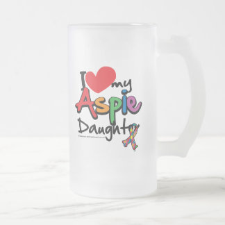 I Love My Aspie Daughter Frosted Glass Beer Mug