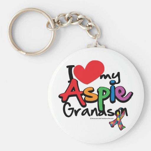 I Love My Aspie Grandson Basic Round Button Keychain