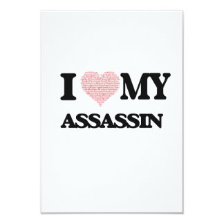 I love my Assassin (Heart Made from Words) 3.5x5 Paper Invitation Card