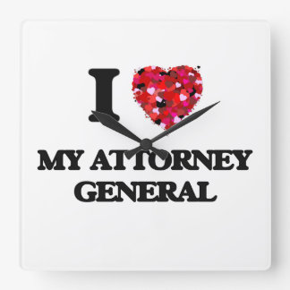I Love My Attorney General Square Wallclock