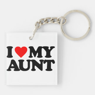I LOVE MY AUNT Double-Sided SQUARE ACRYLIC KEYCHAIN