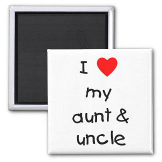 I Love My Aunt & Uncle 2 Inch Square Magnet