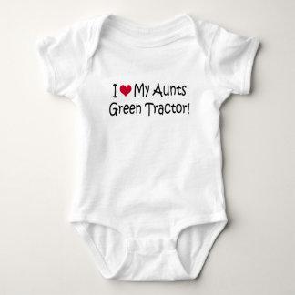 I Love My Aunts Green Tractor Baby Bodysuit