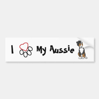 I Love My Aussie Bumper Sticker