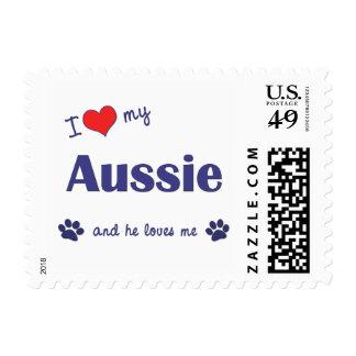 I Love My Aussie (Male Dog) Stamp