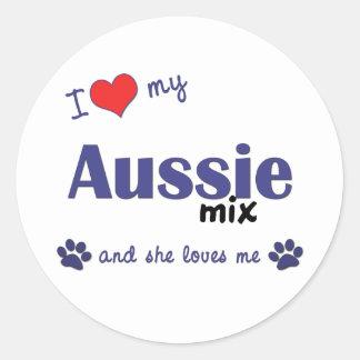 I Love My Aussie Mix (Female Dog) Classic Round Sticker
