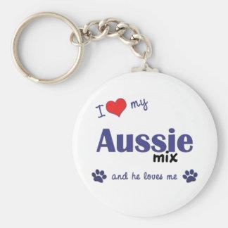 I Love My Aussie Mix (Male Dog) Basic Round Button Keychain