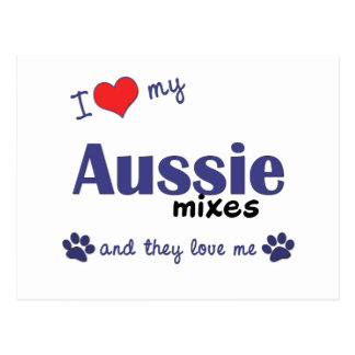 I Love My Aussie Mixes (Multiple Dogs) Postcard