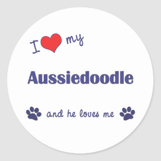 I Love My Aussiedoodle (Male Dog) Classic Round Sticker