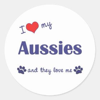 I Love My Aussies (Many Dogs) Classic Round Sticker