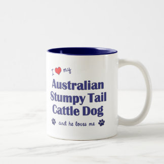 I Love My Aust. Stumpy Tail Cattle Dog (Male Dog) Two-Tone Coffee Mug