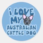 I Love My Australian Cattle Dog Classic Round Sticker