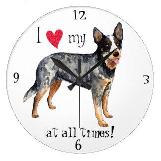I Love my Australian Cattle Dog Large Clock