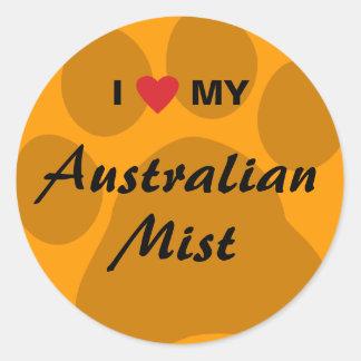 I Love My Australian Mist Cat Pawprint Classic Round Sticker