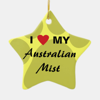 I Love My Australian Mist Cat Pawprint Double-Sided Star Ceramic Christmas Ornament