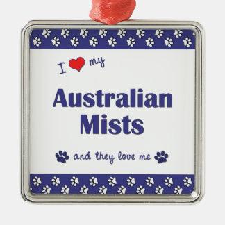 I Love My Australian Mists (Multiple Cats) Square Metal Christmas Ornament