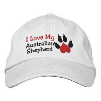 I Love My Australian Shepherd Dog Paw Prin Embroidered Hats