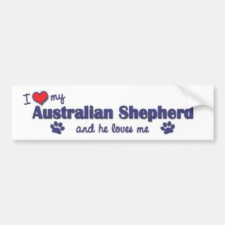 I Love My Australian Shepherd (Male Dog) Bumper Sticker