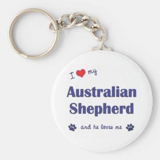 I Love My Australian Shepherd (Male Dog) Keychain
