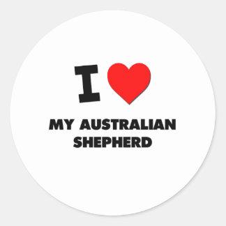 I Love My Australian Shepherd Round Stickers