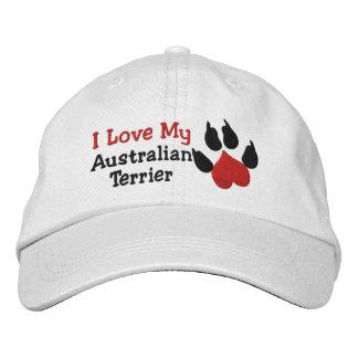 I Love My Australian Terrier Dog Paw Prin Embroidered Baseball Cap
