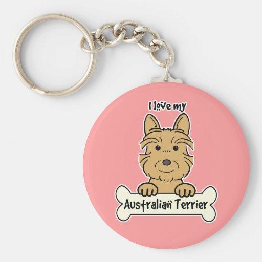 I Love My Australian Terrier Keychain